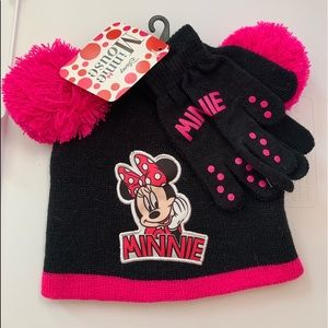 NEW BLACK & PINK MINNIE MOUSE HAT & GLOVES SET